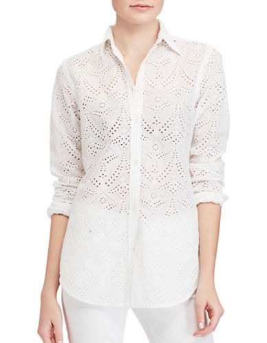 Lauren Ralph Lauren Petite Eyelet Cotton Shirt-WHITE-Petite Small