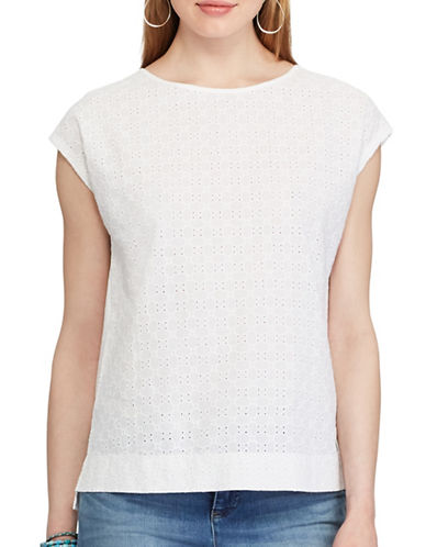 Chaps Eyelet-Lace-Front Tee-WHITE-Small