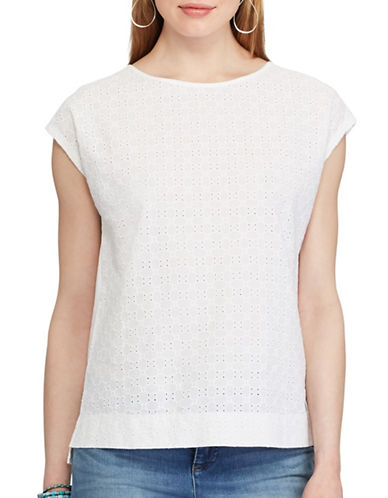 Chaps Petite Eyelet-Lace-Front Tee-WHITE-Petite X-Large