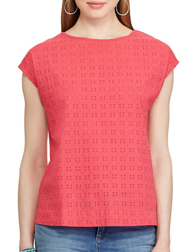 Chaps Petite Eyelet-Lace-Front Tee-RED-Petite X-Large