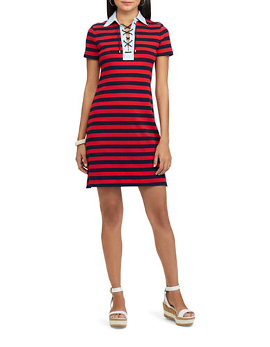 Chaps Striped Lace-Up Polo Dress-BLUE-Large