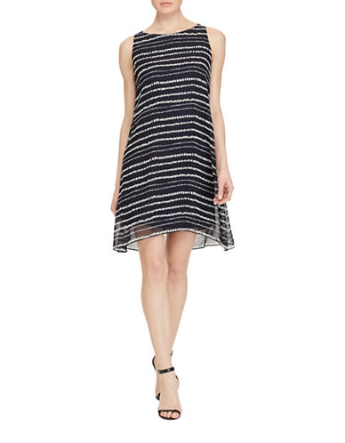 Lauren Ralph Lauren Georgette A-Line Dress-LIGHT NAVY MULTI-8