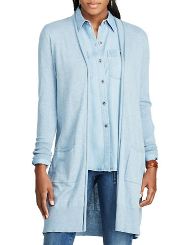 Chaps Open-Front Cotton-Modal Cardigan-BLUE-Small