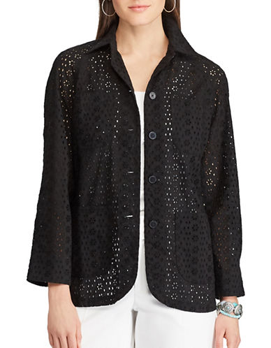 Chaps Eyelet Lace Shirt Jacket-BLACK-X-Small