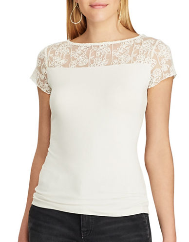 Chaps Lace-Trim Jersey Tee-WHITE-Medium
