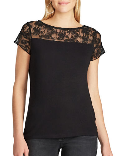 Chaps Lace-Trim Jersey Tee-BLACK-Medium 89361407_BLACK_Medium