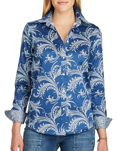 Chaps Non-Iron Trim Fit Paisley Button Shirt-BLUE MULTI-Small