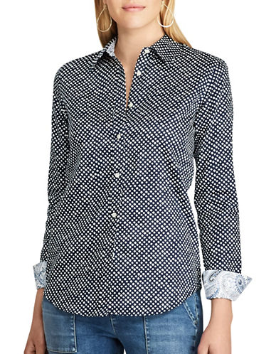 Chaps Non-Iron Trim Fit Polka-Dot Button Shirt-NAVY MULTI-Small
