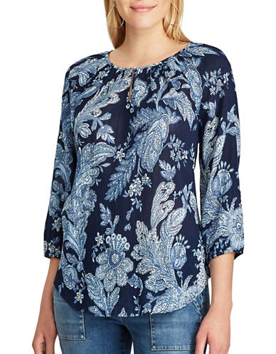 Chaps Floral Cotton Peasant Top-BLUE MULTI-Large