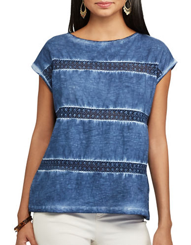 Chaps Lace-Trimmed Cotton Top-BLUE-Small