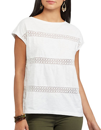 Chaps Lace-Trimmed Top-WHITE-X-Small 89310340_WHITE_X-Small