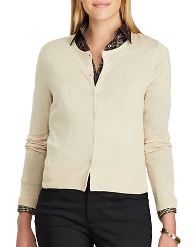 Chaps Crew Neck Cotton-Modal Cardigan-BEIGE-X-Large