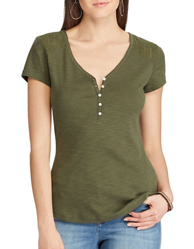 Chaps Lace-Yoke Henley Top-GREEN-X-Large