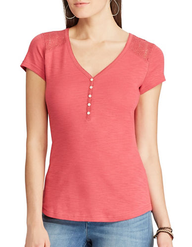 Chaps Lace-Yoke Henley Top-RED-Large
