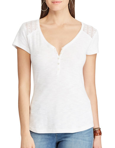 Chaps Lace-Yoke Henley Top-WHITE-X-Large