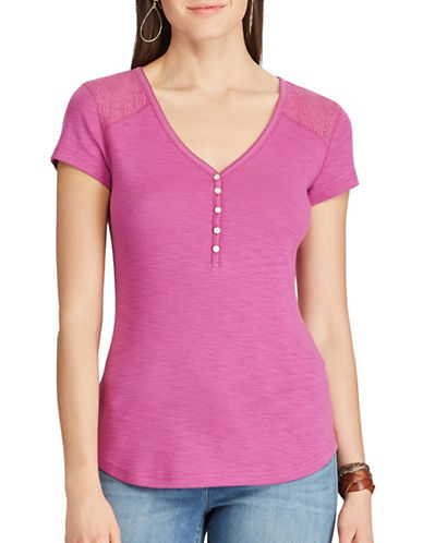 Chaps Lace-Yoke Henley Top-LAVENDER-X-Small