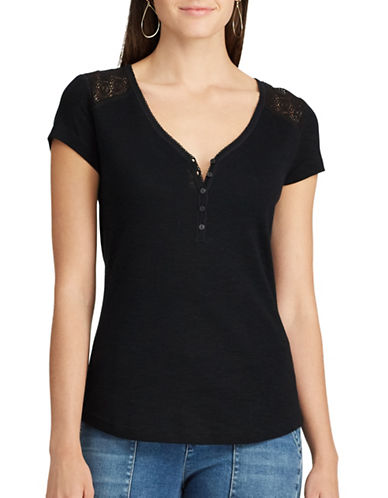 Chaps Lace-Trim Henley Shirt-BLACK-Medium