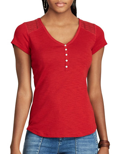 Chaps Lace-Trim Henley Shirt-RED-X-Large