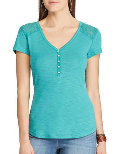 Chaps Lace-Yoke Henley Top-TURQUOISE-Small