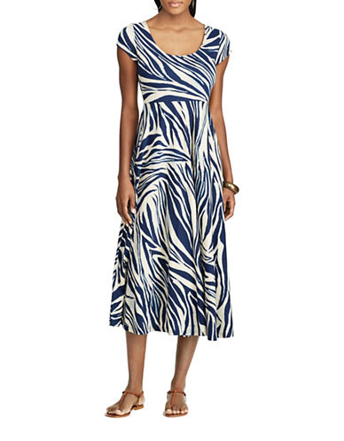 Chaps Zebra Print Cotton Dress-MULTI-Medium