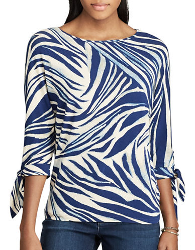 Chaps Zebra-Print Jersey Top-MULTI-Small