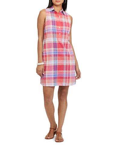 Chaps Plaid Shirtdress-PINK-X-Small