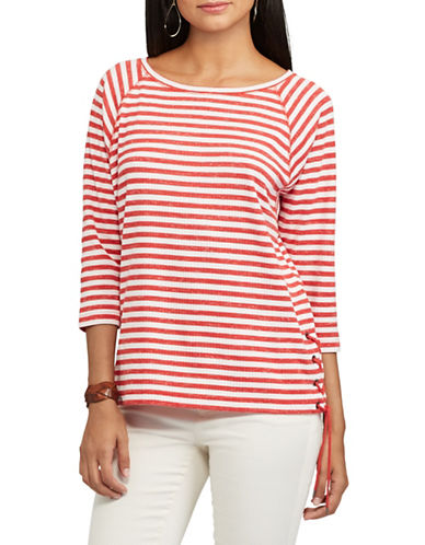 Chaps Striped Lace-Up Pullover-RED/WHITE-Large