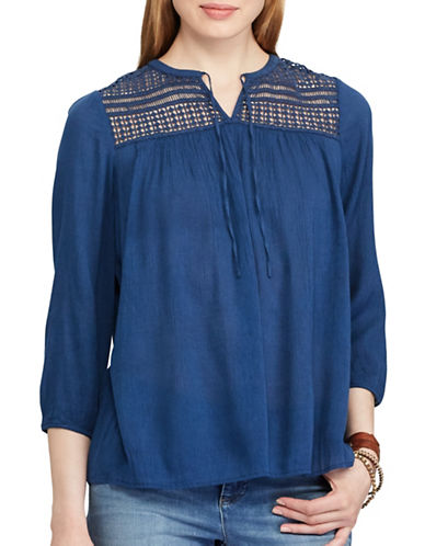 Chaps Laced Yoke Top-BLUE-Small