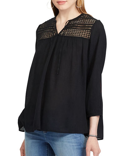 Chaps Laced Yoke Top-BLACK-X-Small
