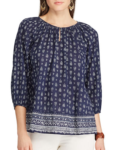 Chaps Printed Peasant Top-BLUE-X-Small