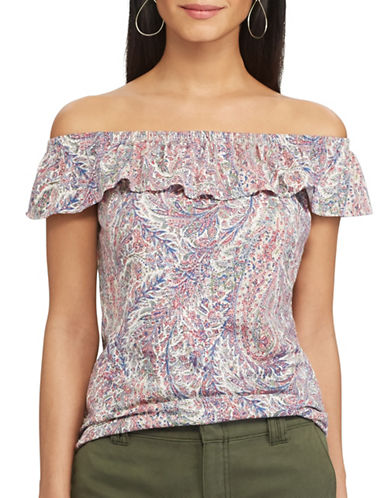 Chaps Paisley Off-the-Shoulder Top-PINK-Small 89310465_PINK_Small