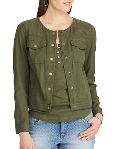 Chaps Cropped Twill Jacket-GREEN-Medium