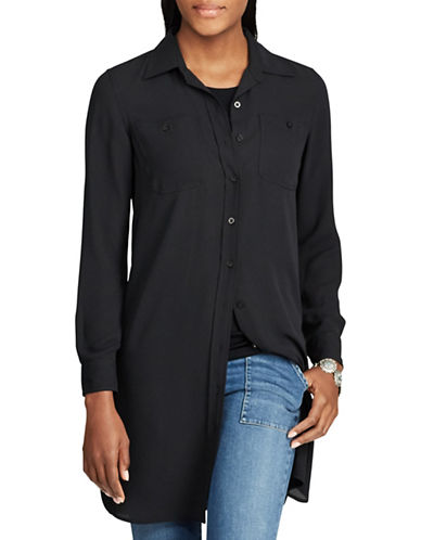Chaps Georgette Button-Up Tunic-BLACK-X-Large