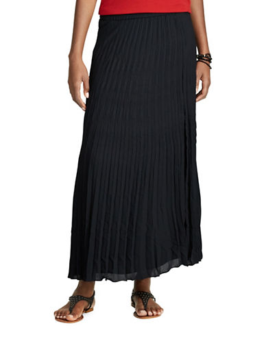 Chaps Pleated Georgette Skirt-BLACK-Small