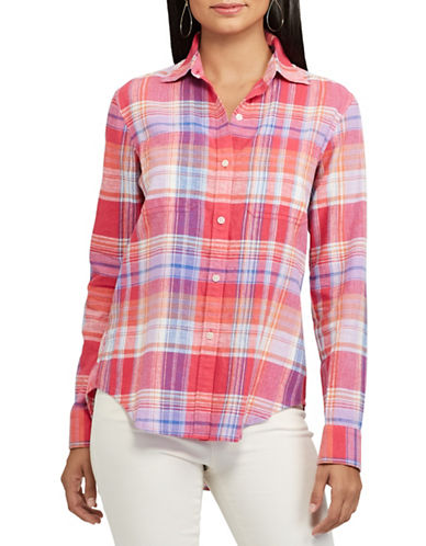 Chaps Plaid Linen Blend Shirt-PINK-Medium