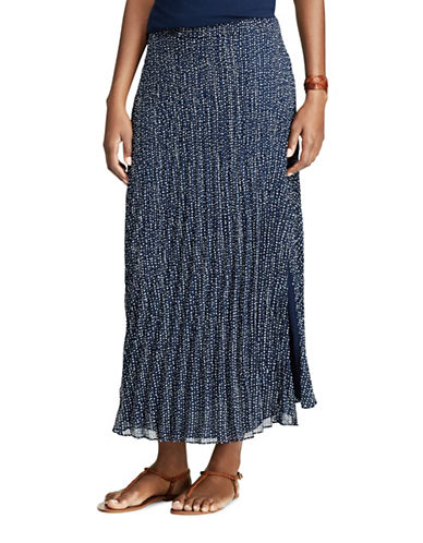 Chaps Dot-Print Pleated Georgette Skirt-BLUE MULTI-Large