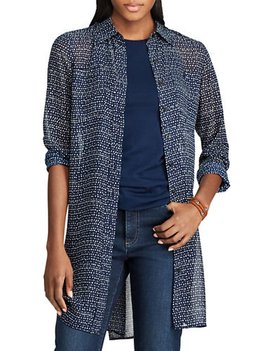 Chaps Dot-Print Georgette Tunic-BLUE MULTI-Large