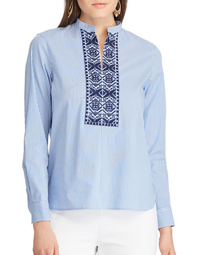 Chaps Embroidered Striped Tunic-BLUE-Small