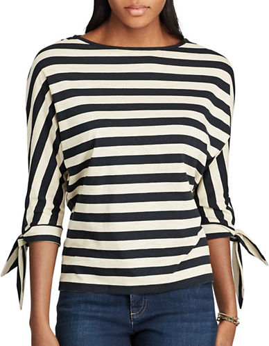 Chaps Striped Jersey Top-BLACK MULTI-Large