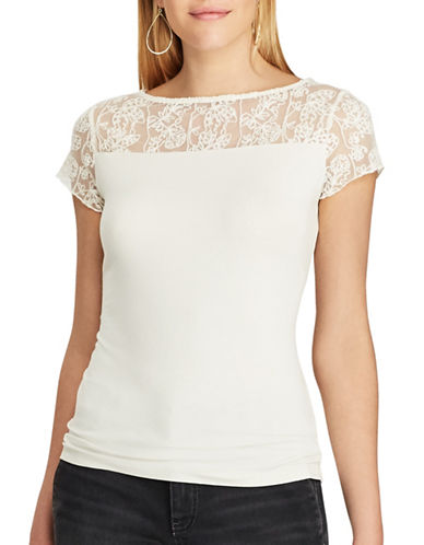 Chaps Petite Lace-Trim Jersey Tee-WHITE-Petite Large