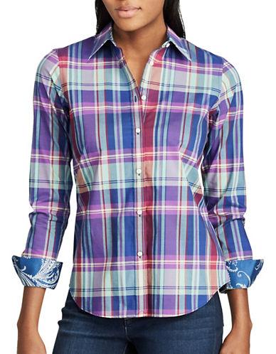 Chaps Petite Plaid Cotton Button-Down Shirt-PURPLE MULTI-Petite X-Small