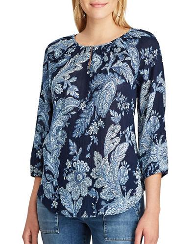 Chaps Petite Floral Cotton Blouse-BLUE MULTI-Petite X-Small