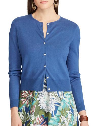 Chaps Petite Cotton Blend Cardigan-BLUE-Petite Large