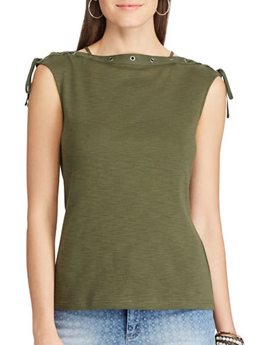 Chaps Petite Sleeveless Knit Tee-GREEN-Petite Medium