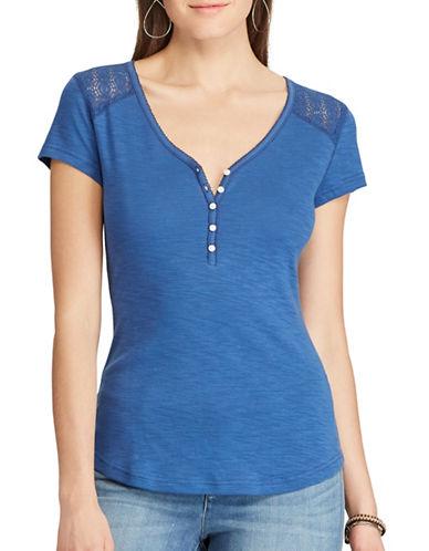 Chaps Petite Lace-Trim Henley Shirt-BLUE-Petite Small