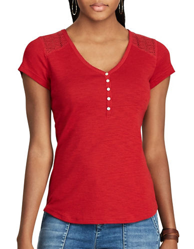 Chaps Petite Lace-Trim Henley Shirt-RED-Petite Medium