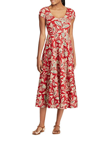 Chaps Petite Floral Cotton Fit-and-Flare Dress-RED MULTI-Petite Large