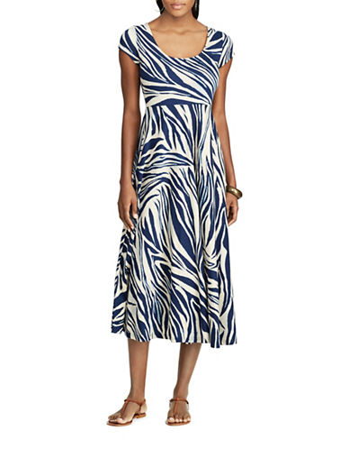 Chaps Petite Zebra-Print Cotton Fit-and-Flare Dress-MULTI-Petite Medium