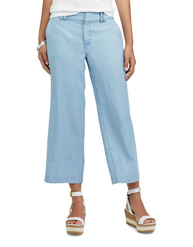 Chaps Petite Wide-Leg Capri Pants-BLUE-Petite 10