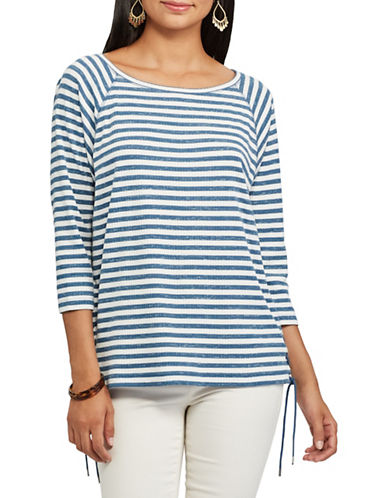 Chaps Petite Striped Lace-Up Pullover-BLUE/WHITE-Petite Small